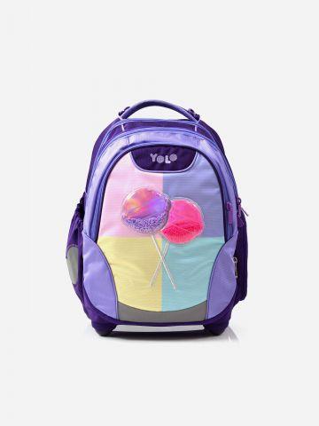 תיק גב עם תבליט סוכריות ופאץ' ולוגו / בנות של YOLO