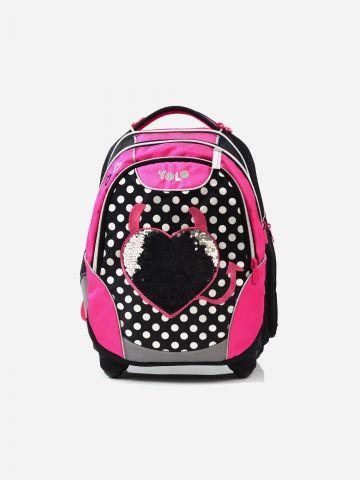 תיק גב עם תבליט לב ופאץ' ולוגו / בנות של YOLO