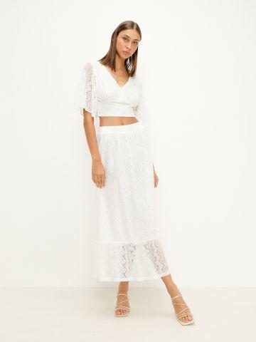 חצאית מקסי פפלום תחרה של YANGA