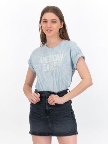 טי שירט בהדפס טאי דאי עם כיתוב של AMERICAN EAGLE