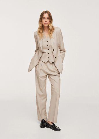 מכנסיים ארוכים עם קפלים של MANGO