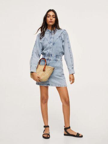 שמלת ג'ינס מיני עם שרוולים נפוחים של MANGO