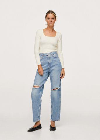 ג'ינס ארוך בשילוב קרעים Slouchy של MANGO