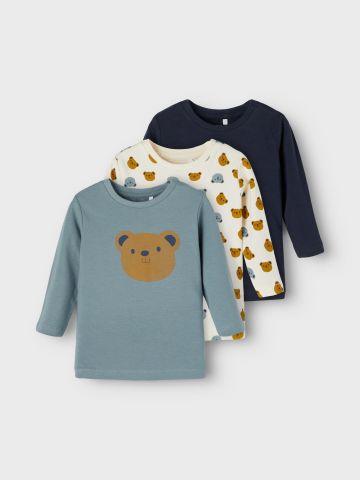 מארז 3 חולצות הדפס דובי / 1M-1.5Y של NAME IT