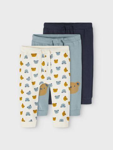 מארז 3 מכנסיים הדפסי דובי / 1M-1.5Y של NAME IT