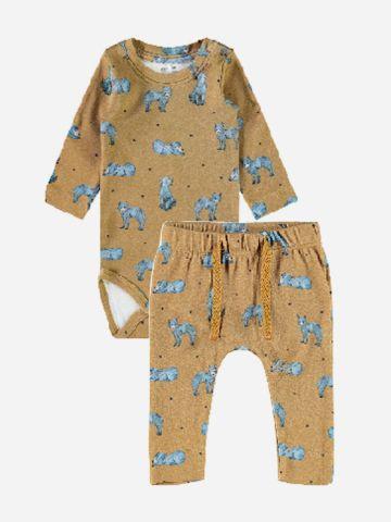 סט בגד גוף ומכנסיים בהדפס חיות / 1M-1.5Y של NAME IT