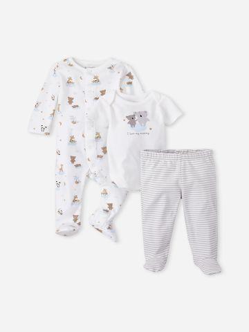 מארז מכנסיים בגד גוף ואוברול בהדפס דובים / 0-9M של THE CHILDREN'S PLACE