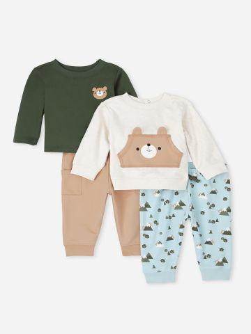 מארז 2 סטים סווטשירט ומכנסיים עם רקמת דובי / 0-2Y של THE CHILDREN'S PLACE