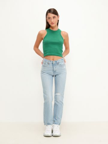 ג'ינס בגזרה ישרה עם עיטור קרע Wedgie של LEVIS