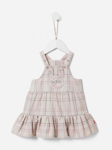 שמלה בסגנון אוברול בהדפס משבצות / 0-3Y של SHILAV