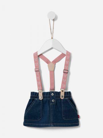 חצאית ג'ינס בשילוב שלייקס / 0-3Y של SHILAV