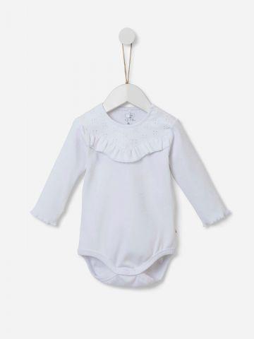 בגד גוף ריב בשילוב רקמה ומלמלה / 0-18M של SHILAV