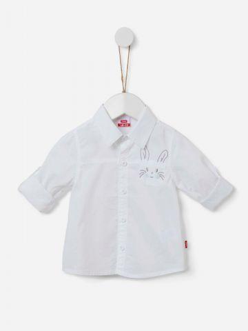 חולצה מכופתרת עם כיס בשילוב רקמה / 0-2Y של SHILAV