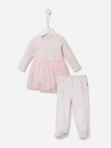 סט בגד גוף שמלה בהדפס ומכנסיים / 0-12M של SHILAV