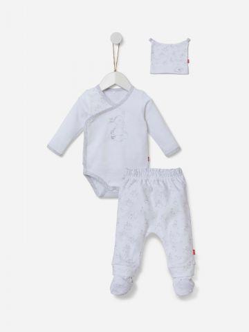 סט בגד גוף מכנסיים וכובע / 0-6M של SHILAV