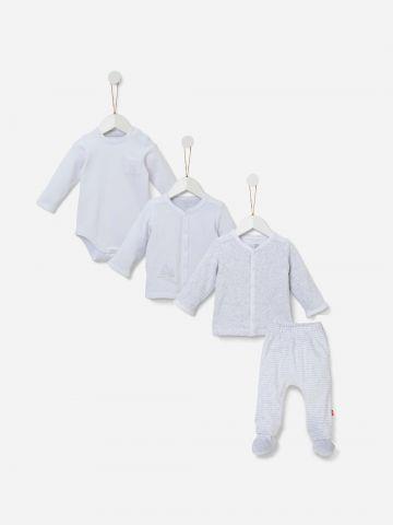 מארז בגד גוף, קרדיגן דו צדדי ומכנסיים / 0-12M של SHILAV
