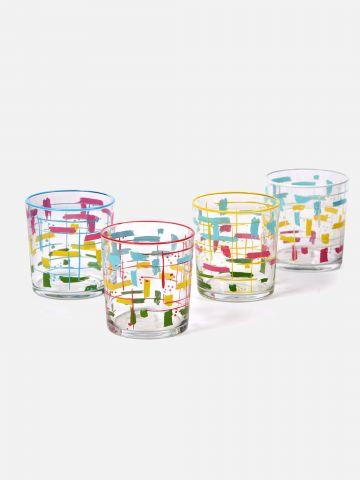 סט 4 כוסות זכוכית מעוצבות של FOX HOME