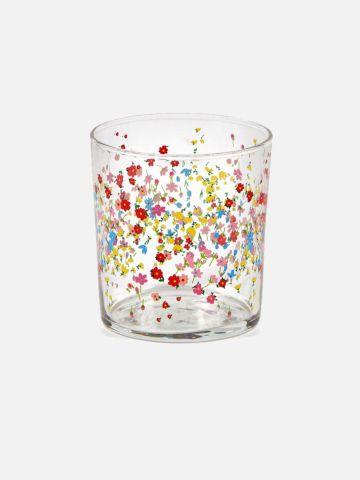 כוס זכוכית בהדפס פרחים של FOX HOME