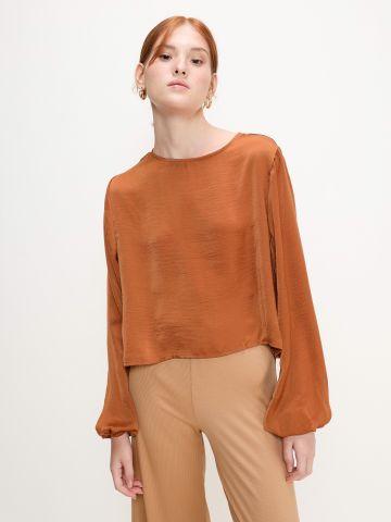 חולצה דמוי משי עם שרוולים ארוכים של YANGA