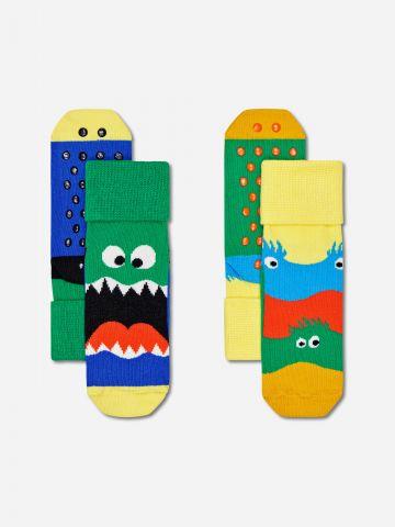 מארז 2 גרביים בדוגמאות חיות / בנים של HAPPY SOCKS