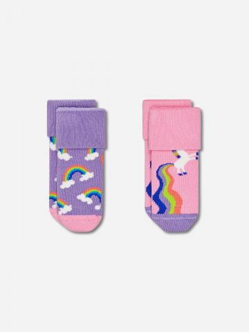 מארז 2 גרביים בדוגמאות שונות / בייבי בנות של HAPPY SOCKS