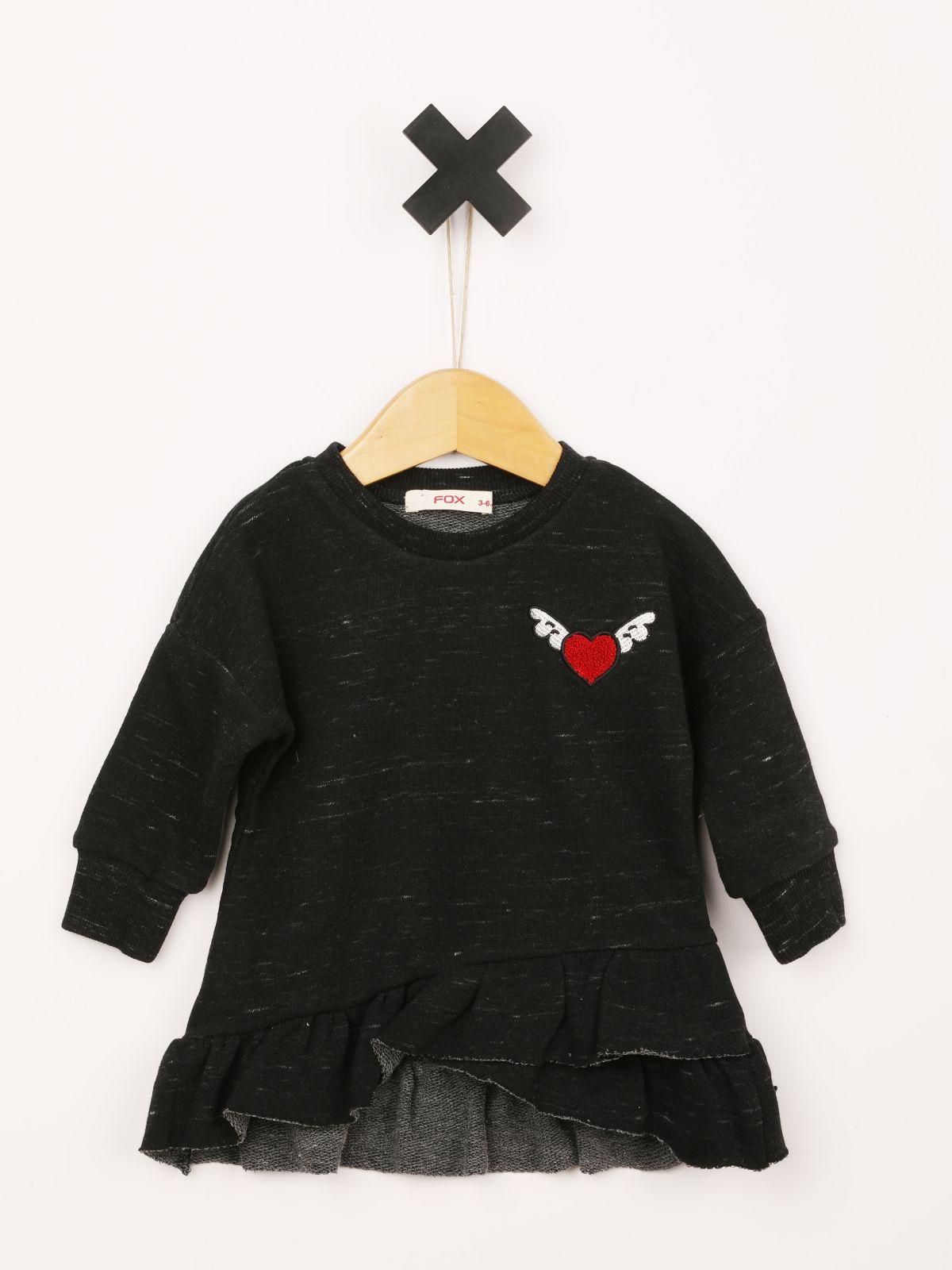 שמלת טי שירט שרוולים ארוכים עם סיומת מלמלה / בייבי בנותשמלת טי שירט שרוולים ארוכים עם סיומת מלמלה / בייבי בנות של FOX