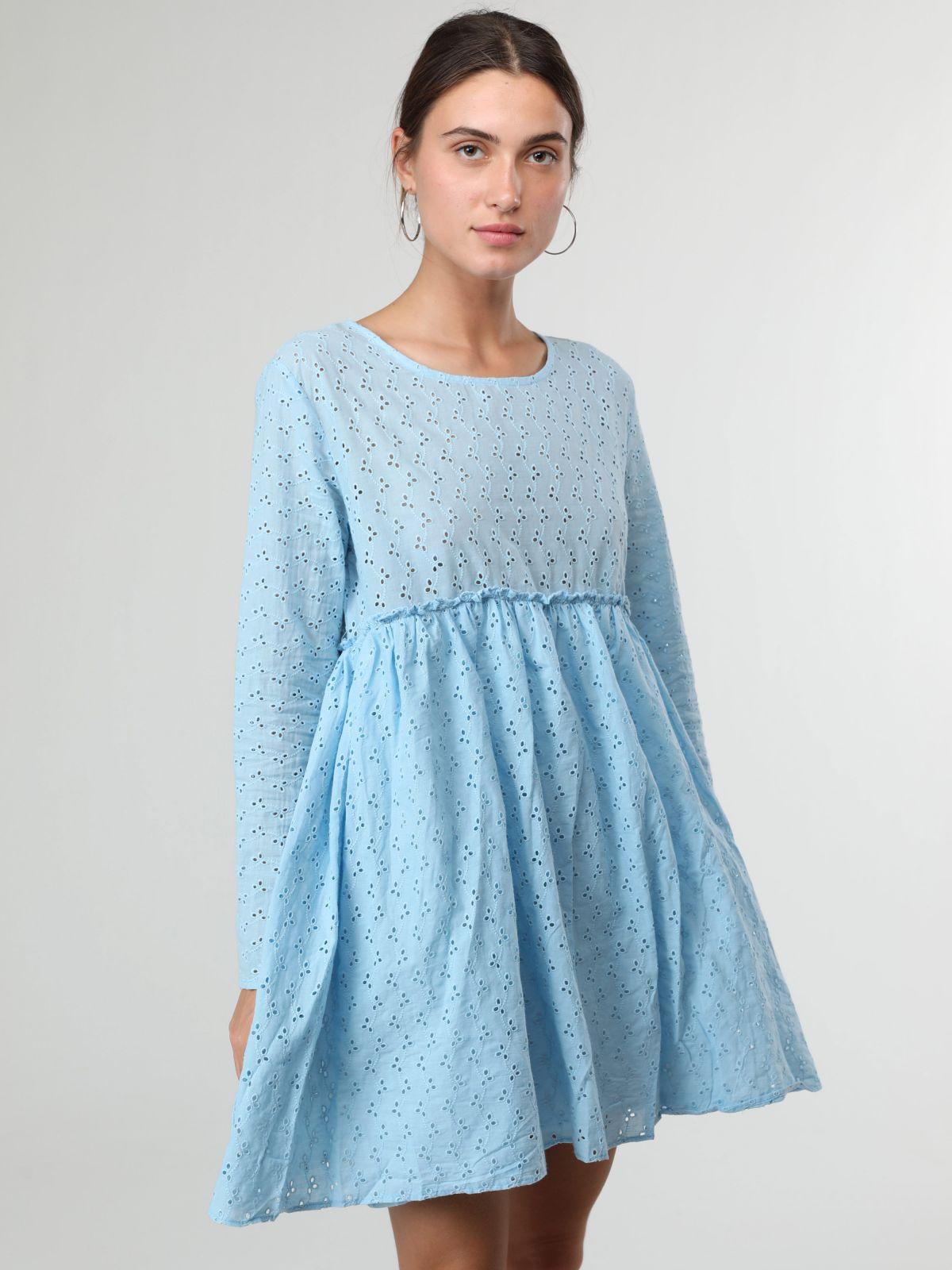 שמלת מיני שרוולים ארוכים עם עיטורי תחרהשמלת מיני שרוולים ארוכים עם עיטורי תחרה של YANGA