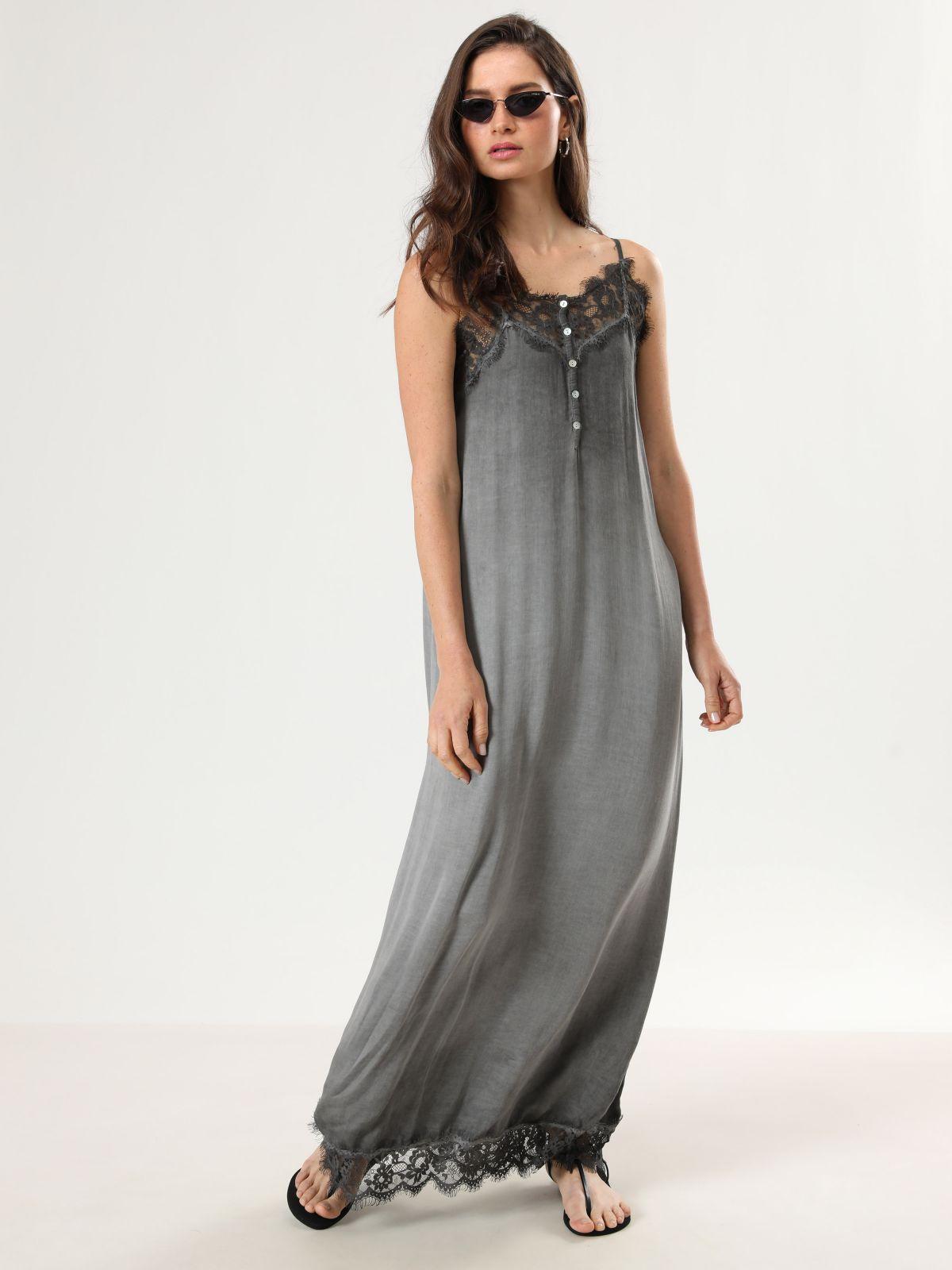 שמלת טאי דאי מקסי בשילוב תחרהשמלת טאי דאי מקסי בשילוב תחרה של TERMINAL X