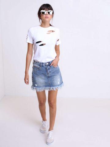 חצאית ג'ינס עם פרנזים