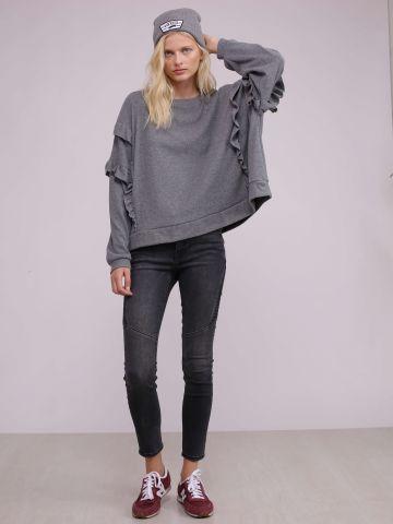 מכנסי סקיני ג'ינס עם קווילט