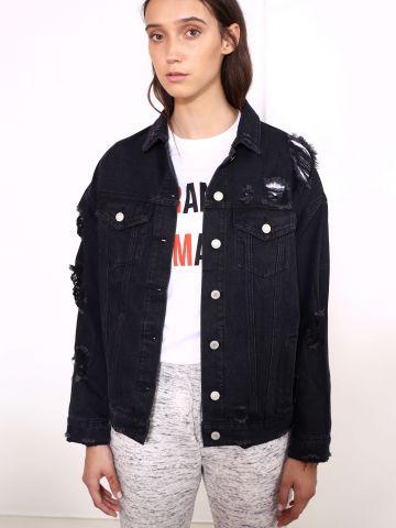 ג'קט ג'ינס שחור אוברסייז קרעים