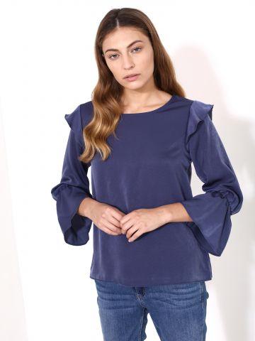 חולצת מלמלה עם שרוולים מתרחבים