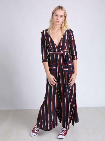 שמלת מקסי מעטפת עם פסים