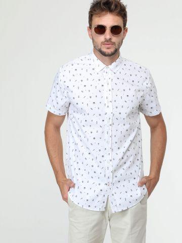 חולצה מכופתרת בהדפס איורים שונים