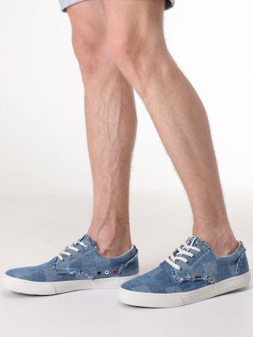 סניקרס ג'ינס משבצות עם תפרים פרומים / גברים