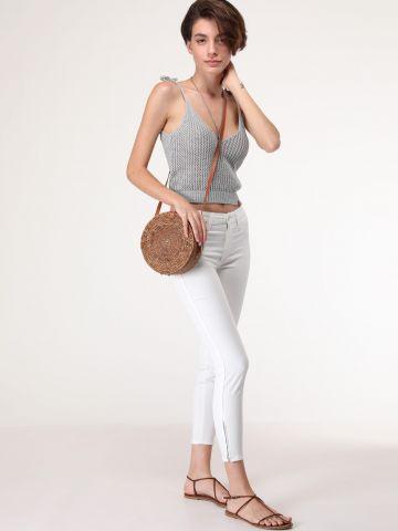 ג'ינס סקיני עם רוכסנים Scarlett Cropped Ecru