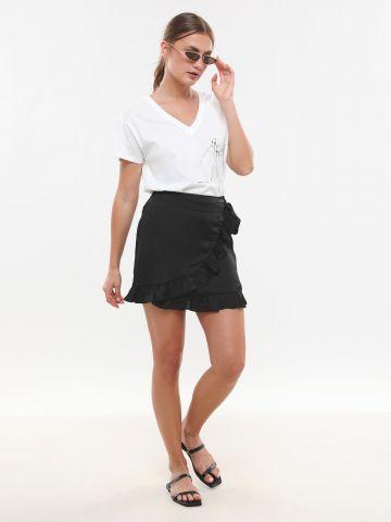 חצאית מיני מעטפת סאטן