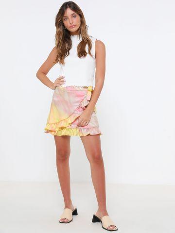 חצאית מיני מעטפת בהדפס טאי דאי