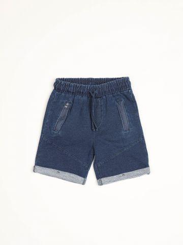 מכנסי טרנינג ברמודה דמוי ג'ינס / בייבי בנים - בנים