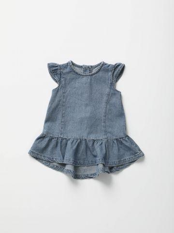 שמלת ג'ינס מיני עם כפתורים מאחור / בייבי בנות - בנות