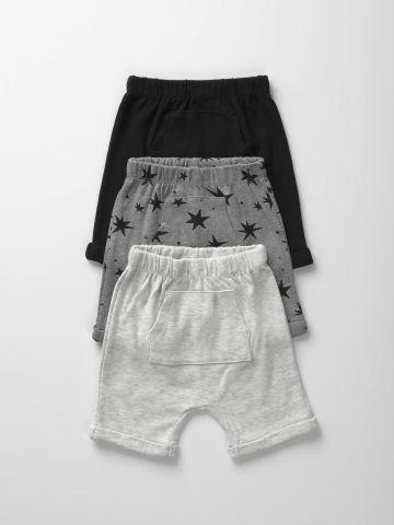 מארז 3 מכנסי טרנינג ברמודה קנגורו / 3M-3Y