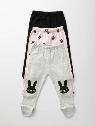 מארז 3 מכנסי ארנבים עם רגליות