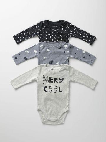 מארז 3 בגדי גוף עם הדפסים / בייבי בנים