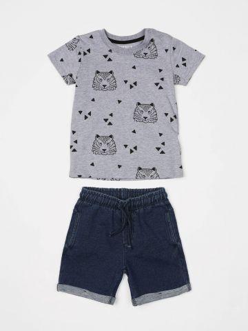 סט טי שירט ומכנסיים קצרים בהדפס אריות / בייבי בנים