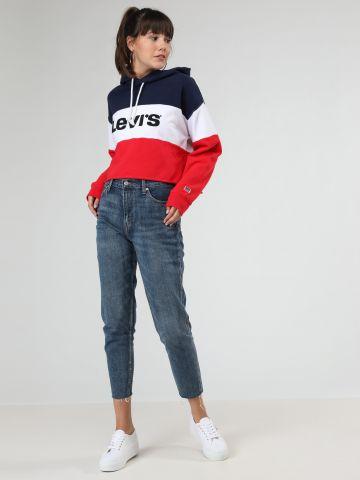 ג'ינס Mom קרופ עם סיומת פרומה