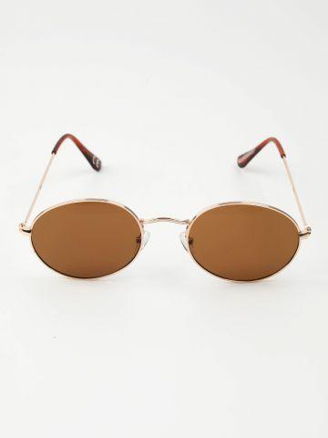 משקפי שמש עגולים עם מסגרת זהב