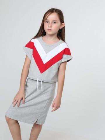 שמלת טי שירט שני חלקים עם משולש קולור בלוק