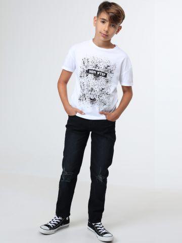 ג'ינס גזרה ישרה עם קרעים / בנים