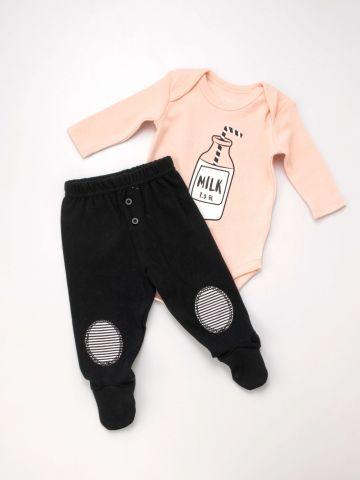 סט בגד גוף ומכנסיים Milk של TERMINAL X KIDS