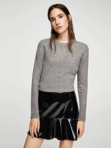 חצאית וייניל מיני בעיטור אבני קריסטל